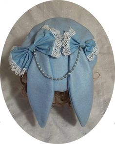 Light blue lop bunny beret. A unique lolita fashion accessory for those tired of the usual bows and clips. $22.00 www.alwaysinabluemoon.etsy.com