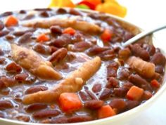 How to Make Red Peas Soup, Jamaican Recipes, Jamaican Cooking.I'd omit the pork, maybe smoke turkey legs? Jamaican Stew Peas, Jamaican Cuisine, Jamaican Dishes, Jamaican Recipes, Jamaican Peas Soup Recipe, Jamaican Dumplings, Jamaican Chicken Soup, Pea Recipes, Indian Food Recipes