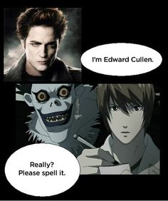 twilight meme comic death note...please spell Mr.Sparkles name correctly, please..