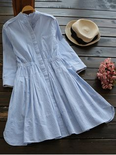 Striped Linen Blend Shirt Dress - BLUE/WHITE M    Style: Casual   Occasions: Causal,Day,Work   Material: Cotton,Linen   Silhouette: A-Line   Dresses Length: Knee-Length   Collar-line: Stand   Sleeves Length: 3/4 Length Sleeves   Pattern Type: Striped   With Belt: No   Season: Fall,Spring   Weight: 0.3700kg   Package: 1 x Dress