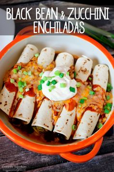 Black Bean Zucchini Enchiladas are filled with healthy hearty ingredients and come together in 30 minutes! They& the perfect dinner! Mexican Food Recipes, Vegetarian Recipes, Cooking Recipes, Healthy Recipes, Healthy Food, Bariatric Recipes, Vegan Food, Healthy Meals, Yummy Recipes