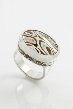 Lucky Pebble: A precious good luck charm. A Mokume Gane & Sterling Silver ring by JewelleryForMenByJHL, $310.00