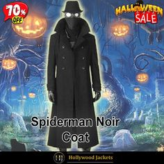 #Halloween Hot offer Get 70% #Movie Spider Man #Noir Black Wool Double Breasted Trench Coat. #HalloweenSale #Halloween #Sale #2021 #OOTD #Style #Cosplay #Costum #men #fashionstyle #women #coat #shopnow #Clothes #wool #discountoffer #outfit #tvseris #onlineshopping #discount #buymypremium #celebrities #offers #fashion #movie