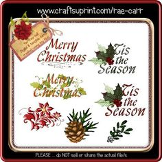 DR007 Christmas Greeting Embellishments *PNG* by Rae Carr The ZIP file will include 4 greeting and 3 individual png files for use with your projects. You will need a program that uses layers to use the png files. You may sell the sheets/designs you create using these files. Please credit: Designs by Rae Carr