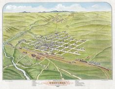 """Just 3 years after it was surveyed in 1867, Cheyenne had become a thriving community. It was called the """"Magic City of the Plains"""" because it seemed to have sprung up out of the plains as a fully formed town almost over night. (WSA 1870 birds eye view of Cheyenne drawn by Augustus Roch)"""