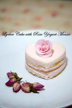 Lychee Cake w/ Rose Yogurt Mousse