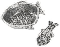 Fish Shaped Pewter Salt Cellar With Spoon - North Breeze Fish Shapes, Spoon Rest, Cellar, Breeze, Pewter, Coastal, Salt, Tin Metal, Tin