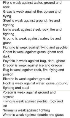 Pokemon type disadvantages
