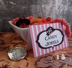 Pirate Girl Party Custom Tent Place Cards - Ahoy Matey Collection from Tea Party Designs