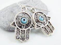 Hamsa  Hand of Fatima Dangly Earrings  Pale by Lylaaccessories, $24.00