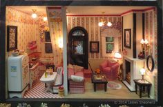 "Mary Englebreit Style Dollhouses by the ""Girls in the Garage"": Living Room and Kitchen of Janet M. Oliver's ""Mary House"""