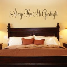 Bedroom Decal Always Kiss Me Goodnight #3 Vinyl Bedroom Wall Decal on Etsy, $10.00