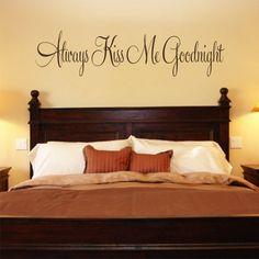 Bedroom Decal Always Kiss Me Goodnight #3 Vinyl Bedroom Wall Decal on Etsy, $10.00