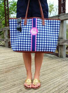 BelleoftheBall45 | Monogrammed Barrington Gifts Gingham Tote & Jack Rogers