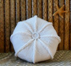 Vintage chenille hobnail sea urchin pillow measures 9.5 inches round and 4 inches in height. Made from a vintage hobnail bedspread which lends