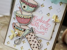 Card by Melissa Phillips. Reverse Confetti stamp set: Kitchen Love. Confetti Cuts: Kitchen Love, Tag Duo, Small Diamond Tiles Cover Panel, and Leafy Wreath. Friendship card. Thank you card.