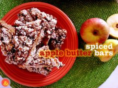 Spiced Apple Butter Bars: A buttery and sweet crust covered in a layer of spiced apple butter and a crumbly topping, perfect for Fall!