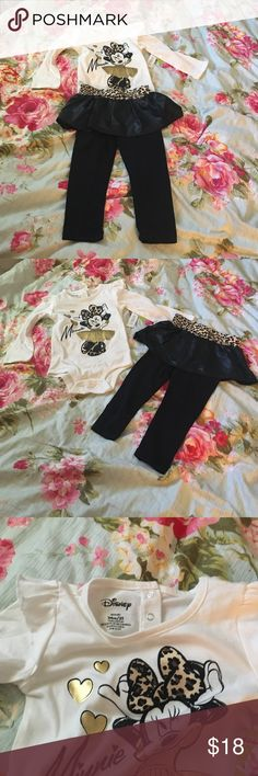 Minnie Mouse Outfit - Disney New with tags - Minnie Mouse Outfit - onesie and skirted leggings! Disney Matching Sets
