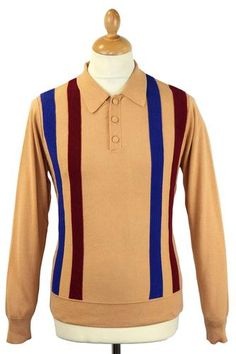Wadsworth David Watts Retro Mod Panel Knit Polo. Covered buttons to the placket and bold stropes make the Wadsworth polo shirt a real must have addition to your wardrobe.  http://www.atomretro.com/product_info.cfm?product_id=12985 #davidwatts #davidwattsclothing #wadsworth #poloshirt #mod
