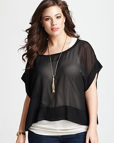 DKNYC Plus Size Double Layer Contrast Top