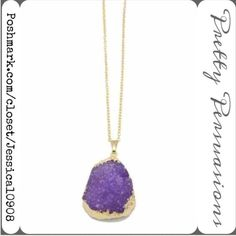 NWT Purple Druzy Statement Pendant Necklace LAST ONE🌻Gold Dipped Purple Druzy Necklace    MSRP: $89.00  Features:  • 18k gold dipped plated metal; nickel & led free • purple druzy stone • clasp back closure chain necklace  Note: the purple color & shape of stone will vary for each individual piece as with any natural stone, no two are exactly alike.   Bundle discounts available  No pp or trades ~ Item # 1o1-5•18-0540 Pretty Persuasions Jewelry Necklaces