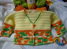 Colorful Baby Cardigan free crochet tutorial