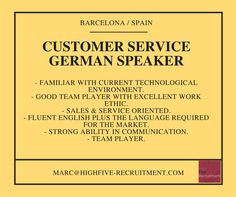 Customer service #job, #German speaker, based in #Barcelona #Spain  Send your CV (in English) at marc@highfive-recruitment.com  #opportunity #highfiveyourjob #highfiveyourcareer #decision #candidate #business #recruitment #success #potential #sales #hiring #career #greatjob #customerserviceadvisor #customerservice #goodchoice #jobinspain