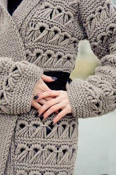 Cardigan Au Crochet, Crochet Coat, Crochet Jacket, Knitted Coat, Crochet Cardigan, Crochet Clothes, Coat Patterns, Knitting Patterns, Crochet Patterns