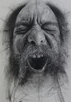 Scottish artist Douglas McDougall creates photorealistic drawings using charcoal, which is textured using scalpel blades, sharply cut erasers and coarse sandpaper.