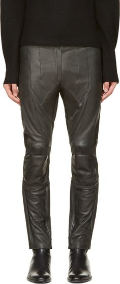 Costume National: Dark Green Ribbed Leather Trousers | SSENSE