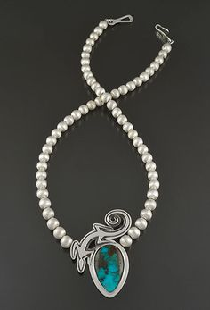 Silver & Turquoise Necklace by Ray Scott (Navajo)