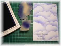 sponging clouds template and tutorial