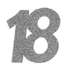 Confettis anniversaire 18 ans argent pailleté les 6