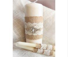 Burlap Unity свечи белого или цвета слоновой кости Burlap & Lace единство