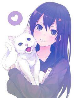 Imagem de anime, cat, and kawaii