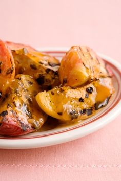 Grilled Peach Halves with a Peach Pecan Dressing #pauladeen
