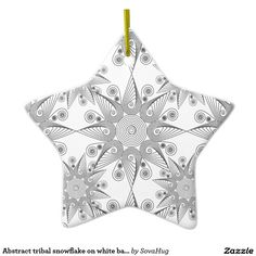 Abstract tribal snowflake on white background ceramic star decoration