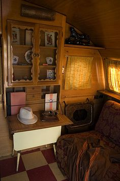 Airfloat vintage travel trailer with beautiful cabinet / secretery