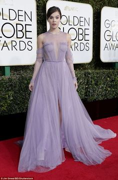 Royalty:Looking like a princess, the True Grit starlet wore a custom Vera Wang design featuring cold-shoulder tulle sleeves