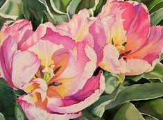 """""""Sunlit Tulips"""" Original watercolor by Brenda Jiral (c) copyright: Brenda Jiral"""