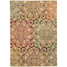 Instant style points are gained with the addition of this oversized floral patterned area rug in rich hues of red, green, brown and blue on a neutral background. Machine-woven of 100% polypropylene this rug will offer durable comfort for years to come.
