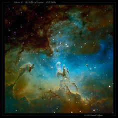 The famous Pillars of Creation, within M16 (NGC 6611), the Eagle Nebula. M16 is in the constellation Serpens (the serpent). The nebula is being hollowed out by a young open cluster of stars. The Eagle Nebula is about 6,500 light years away from Earth and spans 20 light years itself. It is visible with binoculars.