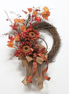 Sunflower Fall Wreath, Autumn Wreath, Farmhouse Decor, Front Door Wreath…