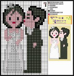 Wedding couple perler beads pattern. You can use this pattern to make pony bead banners.