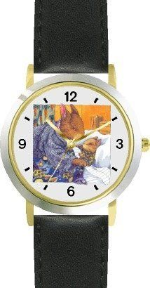Mommy & Baby Bunny Rabbit being Tucked in - from Hush Little Baby by Artist: Sylvia Long - WATCHBUDDY® DELUXE TWO-TONE THEME WATCH - Arabic Numbers - Black Leather Strap-Size-Children's Size-Small ( Boy's Size & Girl's Size ) WatchBuddy. $49.95. Save 38% Off!