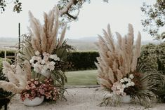 Ceremony styling featuring pastel and metallic flowers with pampas grass and wild foliage. Florist, Wilderness Flowers, for Byron Bay Weddings at Fig Tree Restaurant. Tree Wedding, Floral Wedding, Wedding Colors, Wedding Bouquets, Wedding Ceremony, Wedding Flowers, Wedding Venues, Outdoor Wedding Isle, Boho Wedding