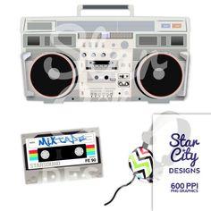 Boom Box Clip Art Radio clipart headphones by StarCityDesigns