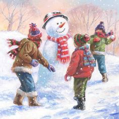 by Jim Mitchell Christmas Scenes, Christmas Snowman, Kids Christmas, Illustration Noel, Illustrations, Winter Painting, Winter Art, Christmas Drawing, Christmas Paintings