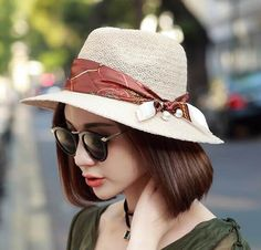 Fashion bow sun hat for women summer pearl modified straw Panama hats