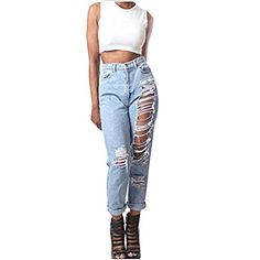 Enlishop Womens Snowflake Stretch Blue High Waist Ripped Destroyed Skinny Jeans -- Continue to the product at the image link.